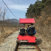 Gangchon-rail-bike-riding