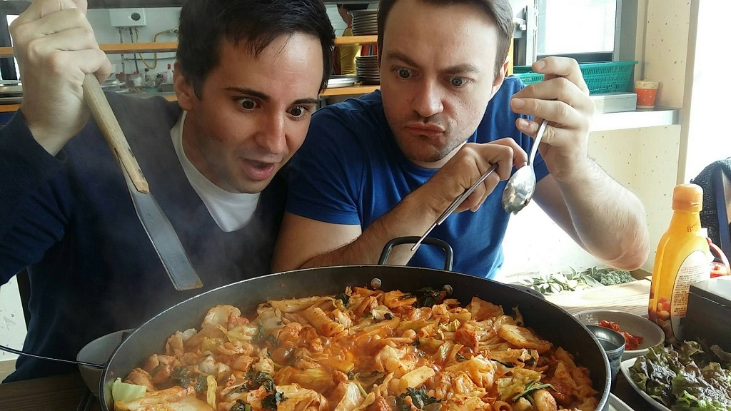alex and paul eating dakgalbi