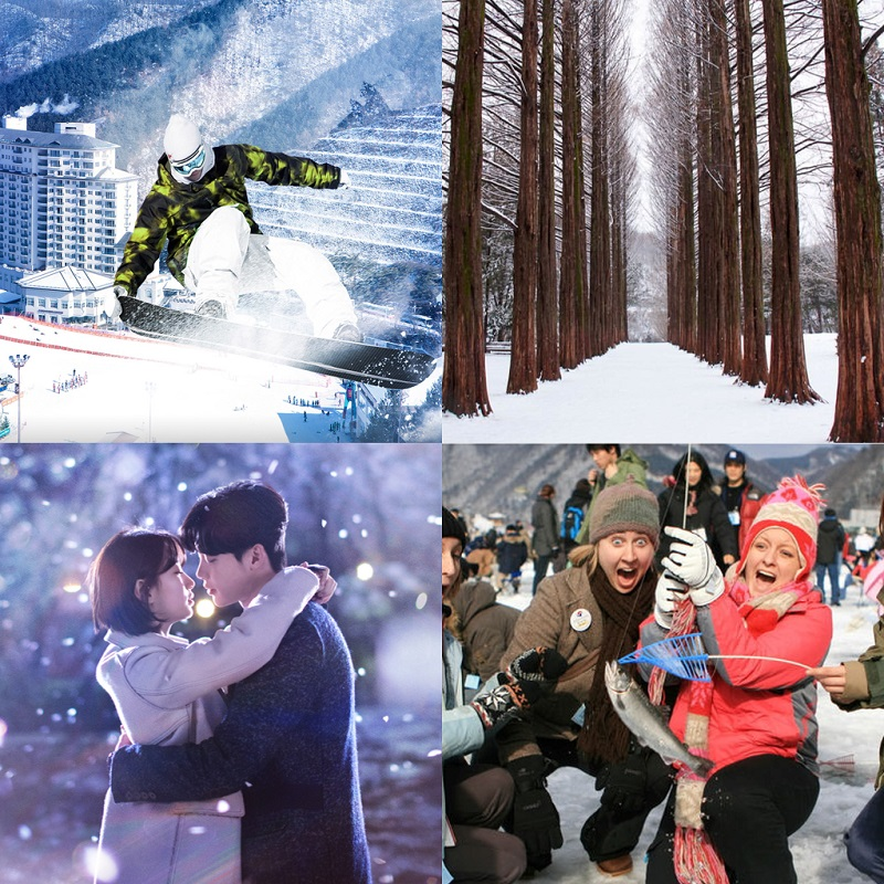 Elysian Gangchon Ski Resort & Nami Island, Chuncheon K-Drama, Hwacheon Sancheoneo Ice festival 1-Day Shuttle Bus Tour Package (Nov-Feb) | KoreaTravelEasy