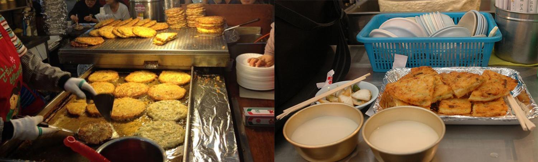 Korean-mung-bean-pancake-Bindaetteokand makgeolli