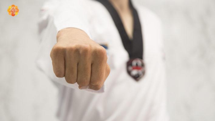 Taekwondo class punch practicing