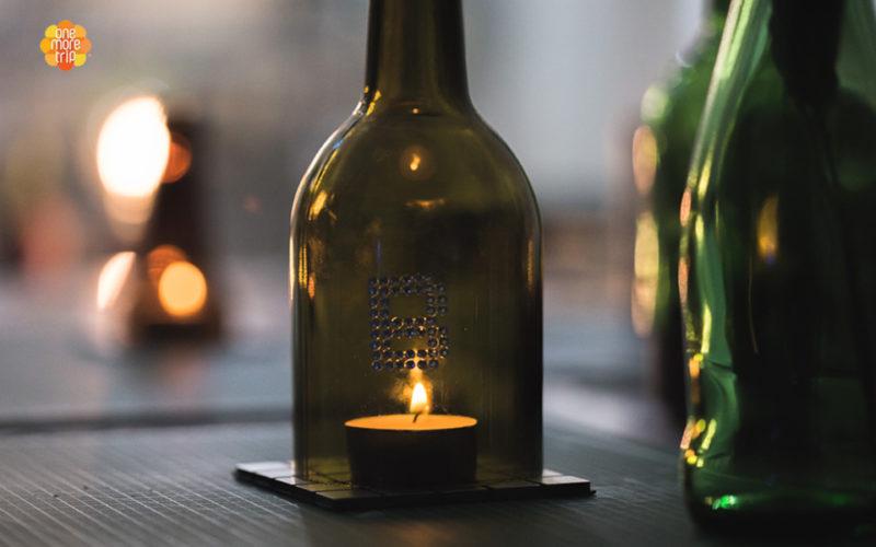 upcycling bottle candle dark
