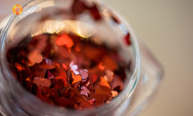 heart shaped glitters for soju glass