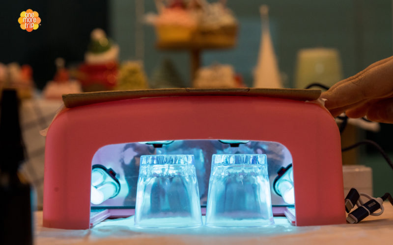 two soju glasses resin light
