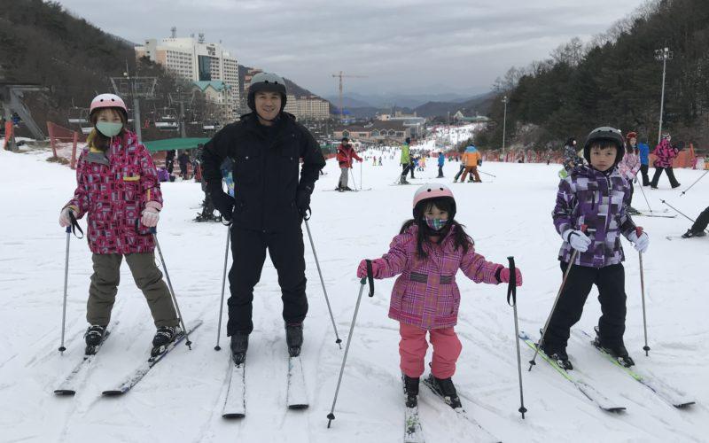 alpensia family skiing