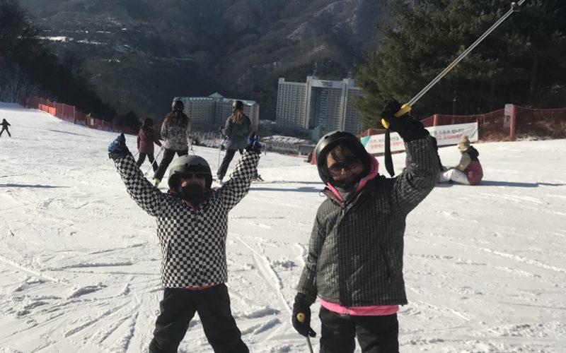 alpensia skiing two people