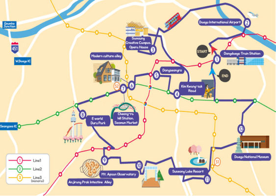 Daegu city tour bus map E