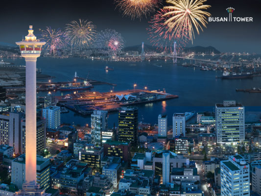 busan tower firework night view