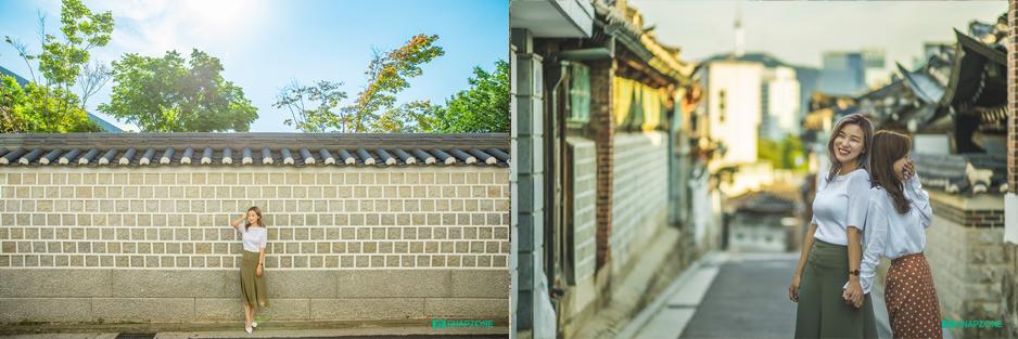 Bukchon Hanok Village seoul snap photo with friends