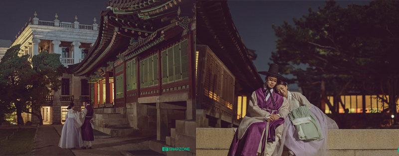 hanbok snap photo GyeongbokgungPalace night