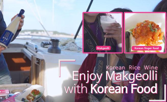 makgeolli with Korean food