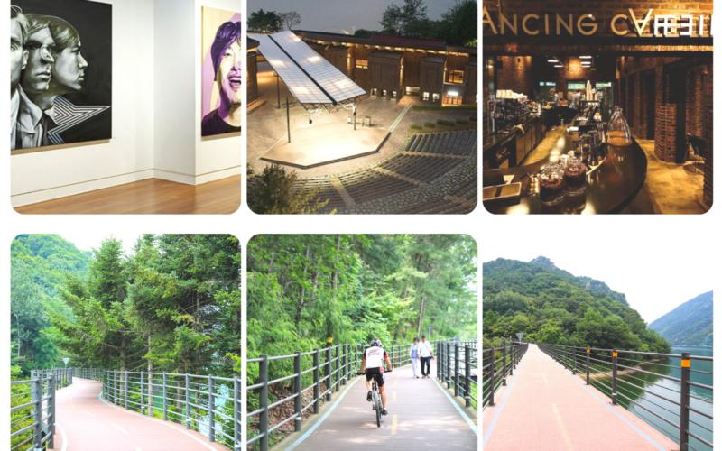 KT&G Sangsangmadang Chuncheon Art Center & Uiamho Lake sidewalk